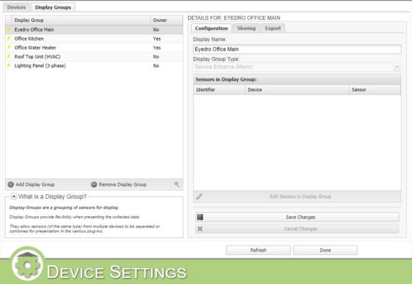 MyEyedro Device Settings