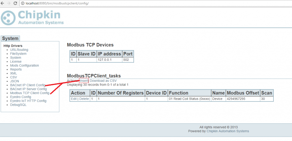 Screenshot of configuration to Insert Modbus Or BACnet Device
